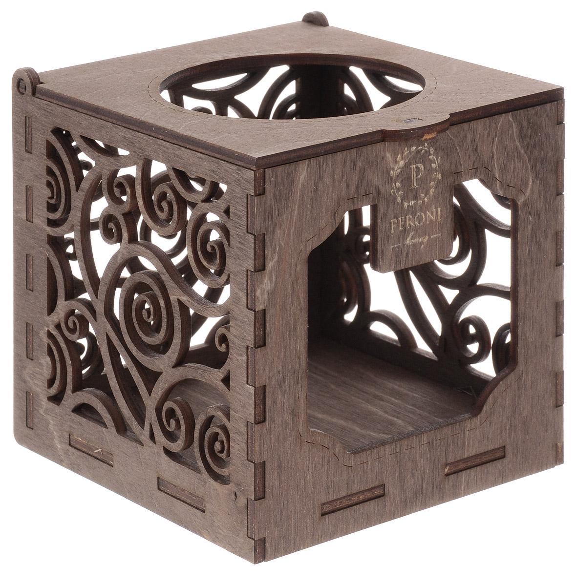 Peroni Коробка-подсвечник деревянная подарочная для меда, 250 мл peroni diamond collection подарочный набор меда 320 г
