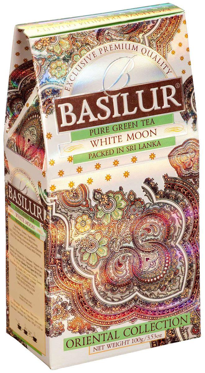 Basilur White Moon зеленый листовой чай, 100 г чай зеленый eastford молочный улун байховый китайский крупнолистовой с ароматом сливок 12 макси фильтр пакетиков по 48 г