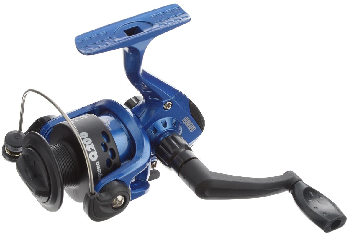 Катушка безынерционная Onlitop Q200 2ВВ, цвет: черный, синий, 2 подшипника
