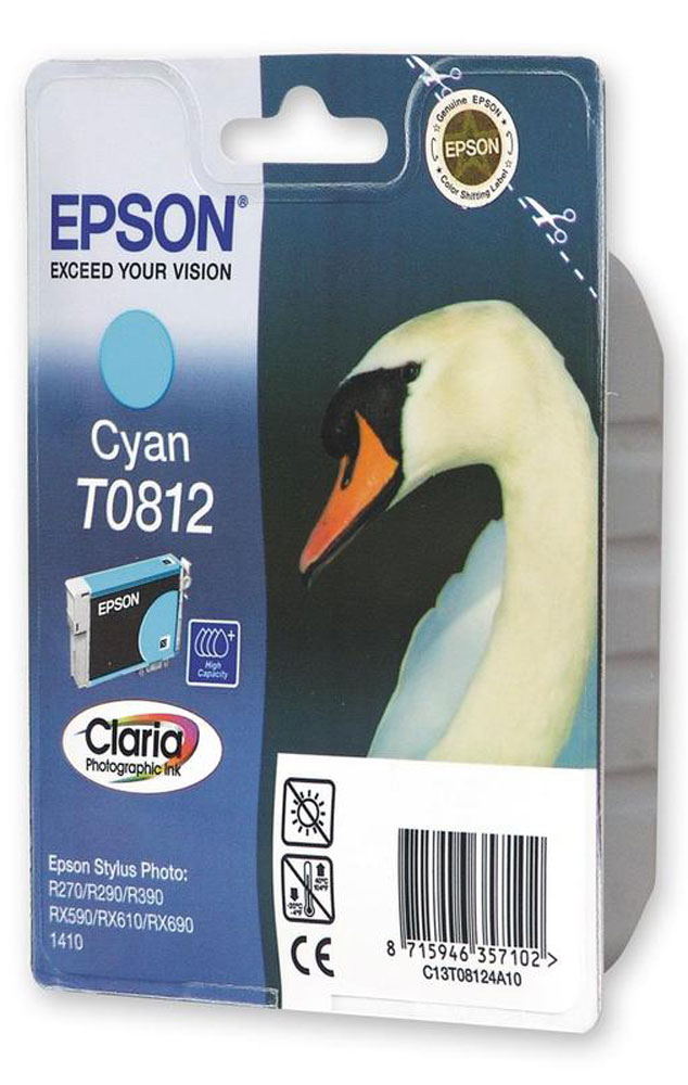 Картридж Epson T0812 (C13T11124A10), голубой original cc03main mainboard main board for epson l455 l550 l551 l555 l558 wf 2520 wf 2530 printer formatter