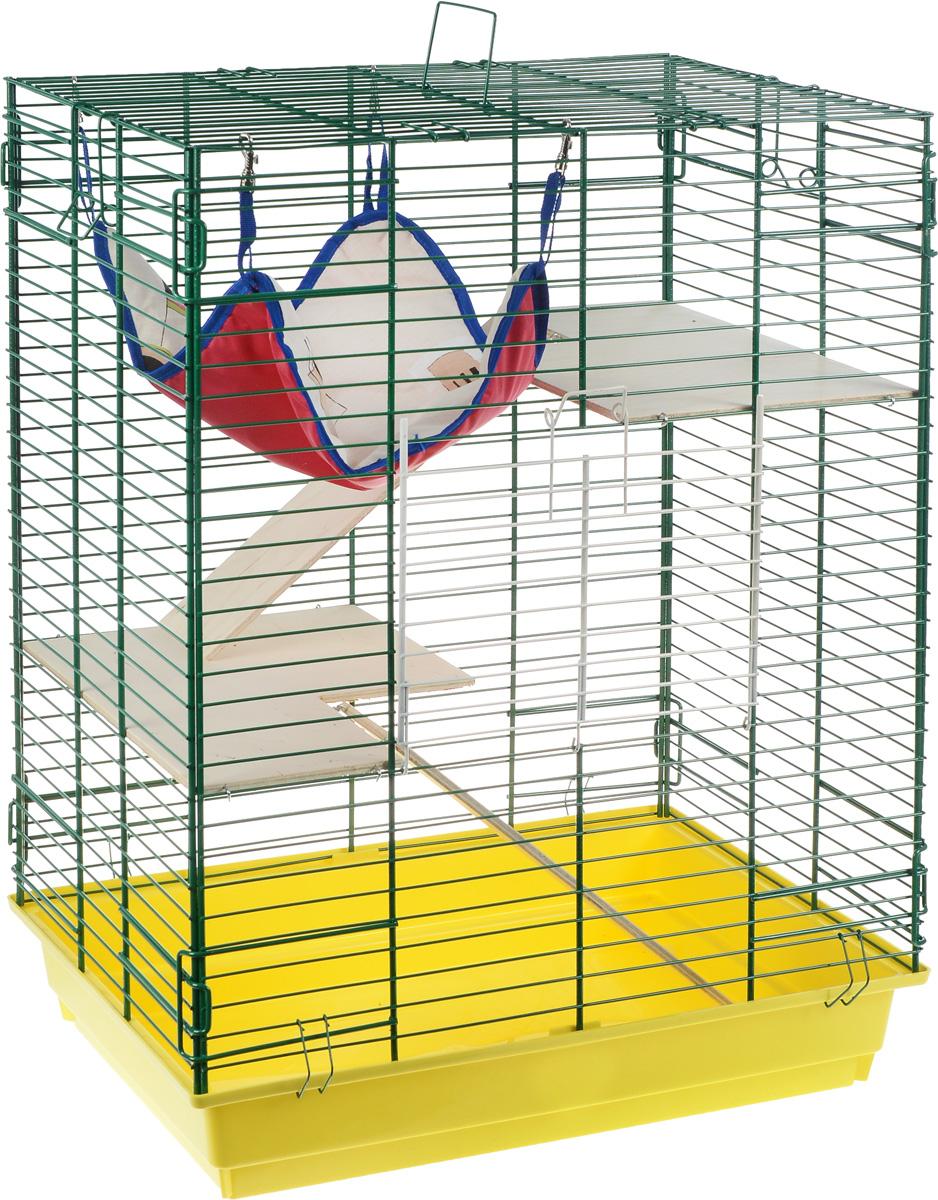 Клетка для шиншилл и хорьков ЗооМарк, цвет: желтый поддон, зеленая решетка, бежевые этажи, 59 х 41 х 79 см. 725дк гамак кроватка для шиншилл и хорьков зоомарк подвесной цвет красный д 12к