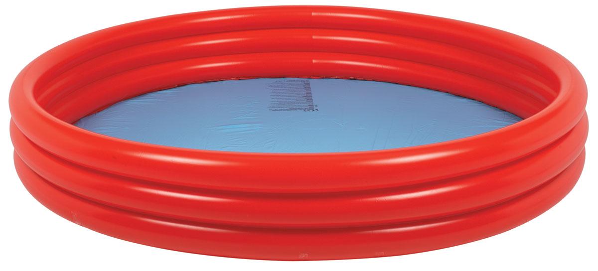 Бассейн надувной Jilong Plain Pool, детский, цвет: голубой, красный, 157 х 157 х 25 см чехол pool cover на каркасные бассейны 258х179см jilong