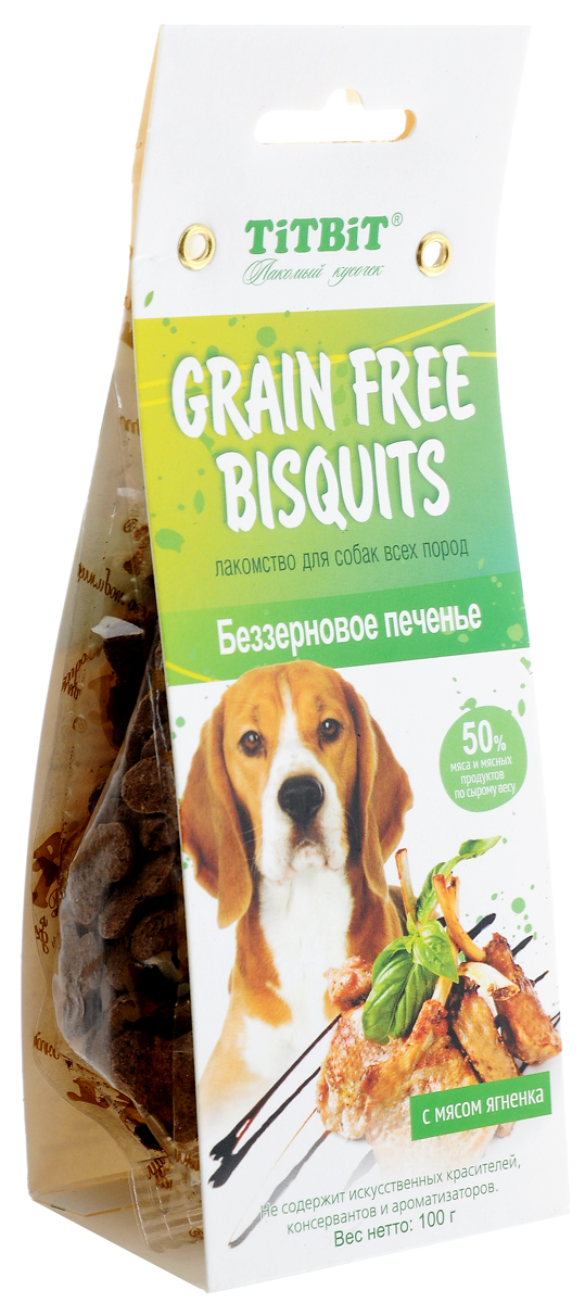 Лакомство для собак Titbit Grain Free, беззерновое печенье с мясом ягненка, 100 г лакомство titbit вырезка из мяса ягненка для собак малых пород 50 г