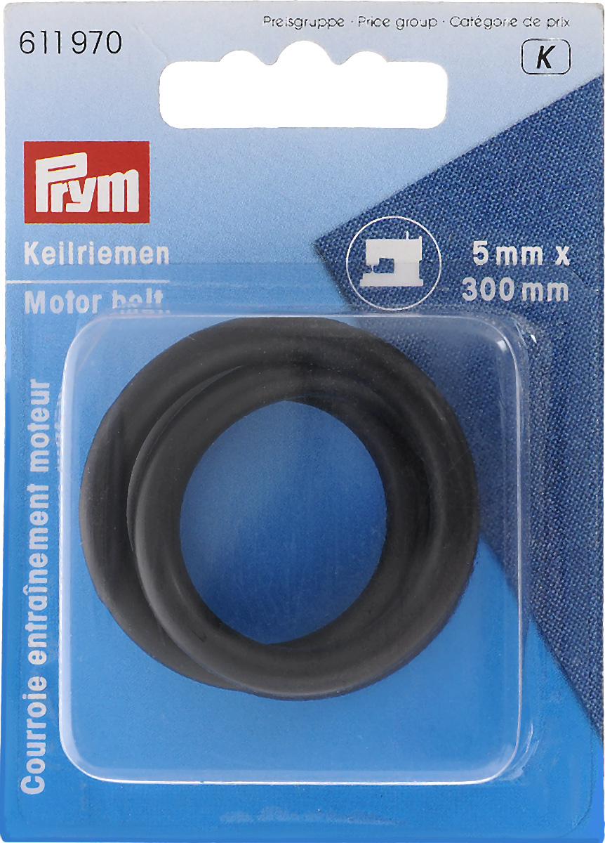 """Ремень клиновой """"Prym"""", для бытовых швейных машин, цвет: черный, 5 мм, 300 мм"""
