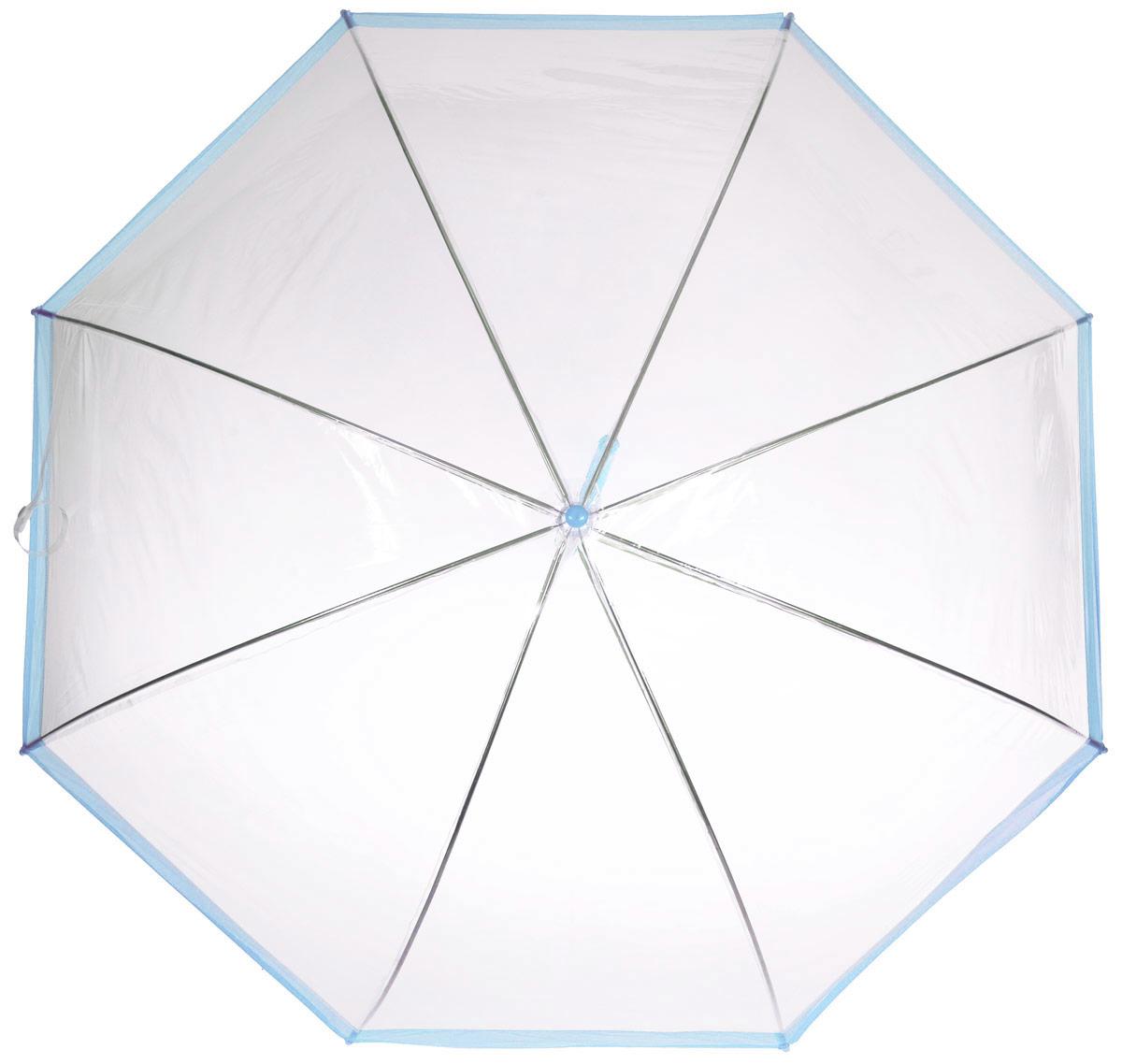 Зонт-трость женский Эврика, механика, цвет: прозрачный, голубой. 94292 цена и фото
