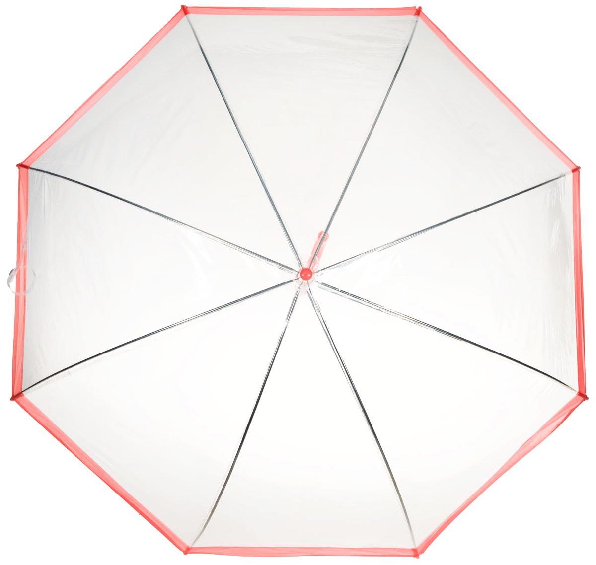 Зонт-трость женский Эврика, механика, цвет: прозрачный, красный. 94291 цена и фото