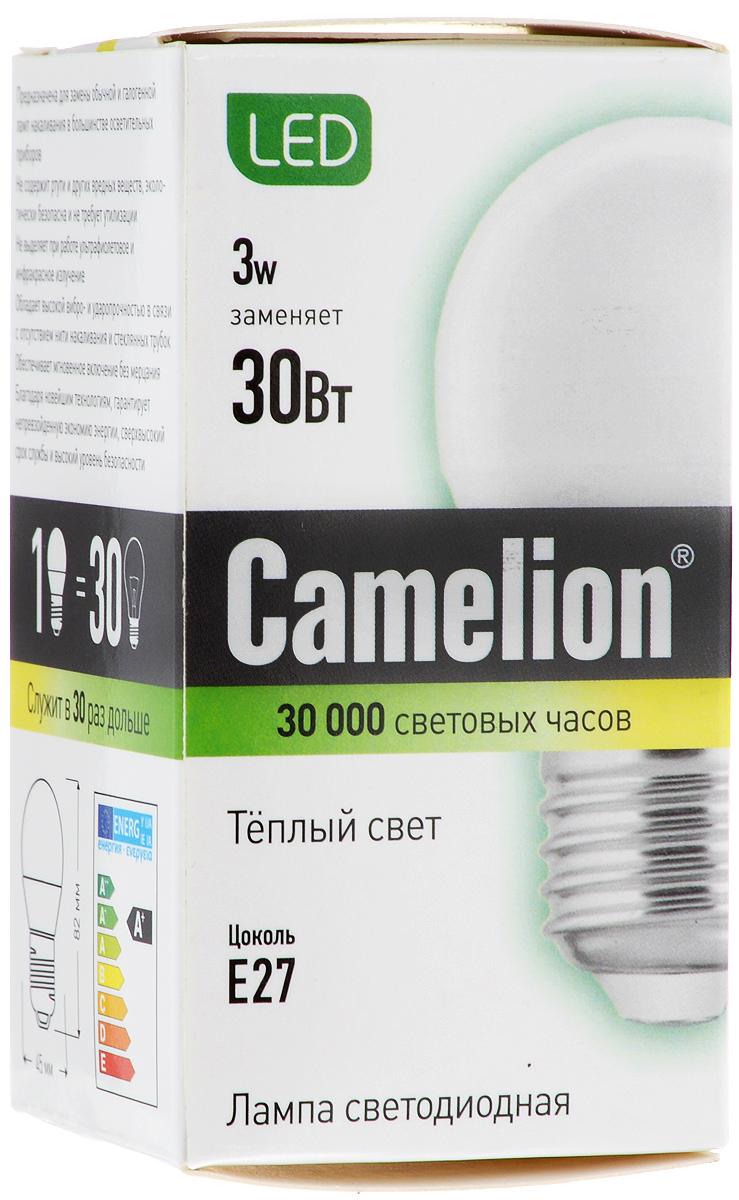 Лампочка Camelion LED3-G45/830/E27