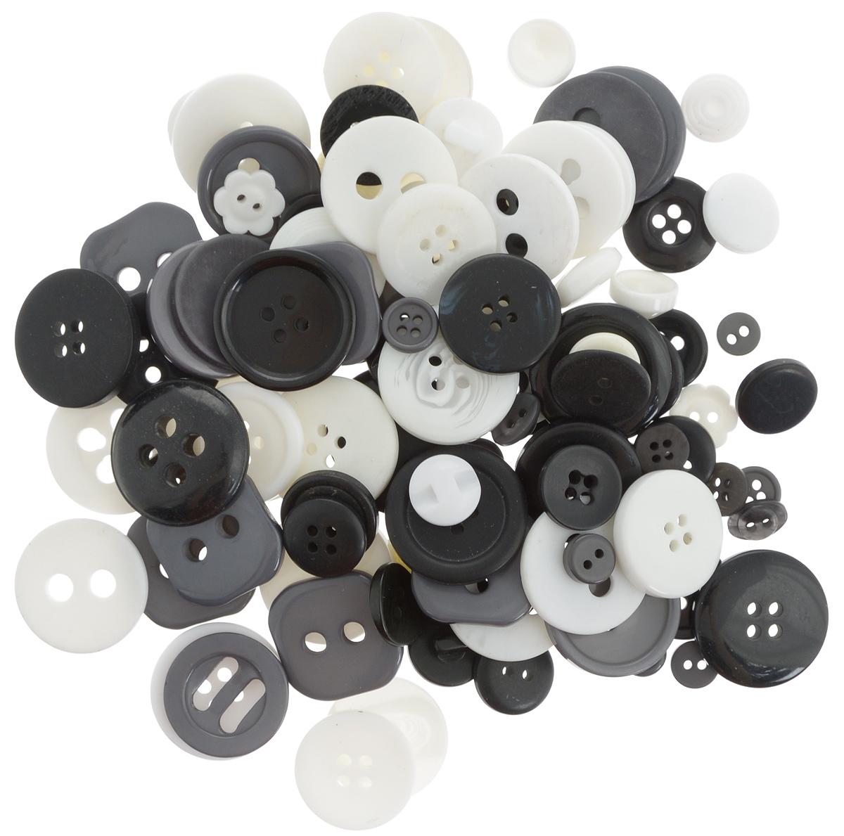 """Пуговицы декоративные Magic Buttons """"Палитра"""", цвет: черный, белый, серый, 100 г"""