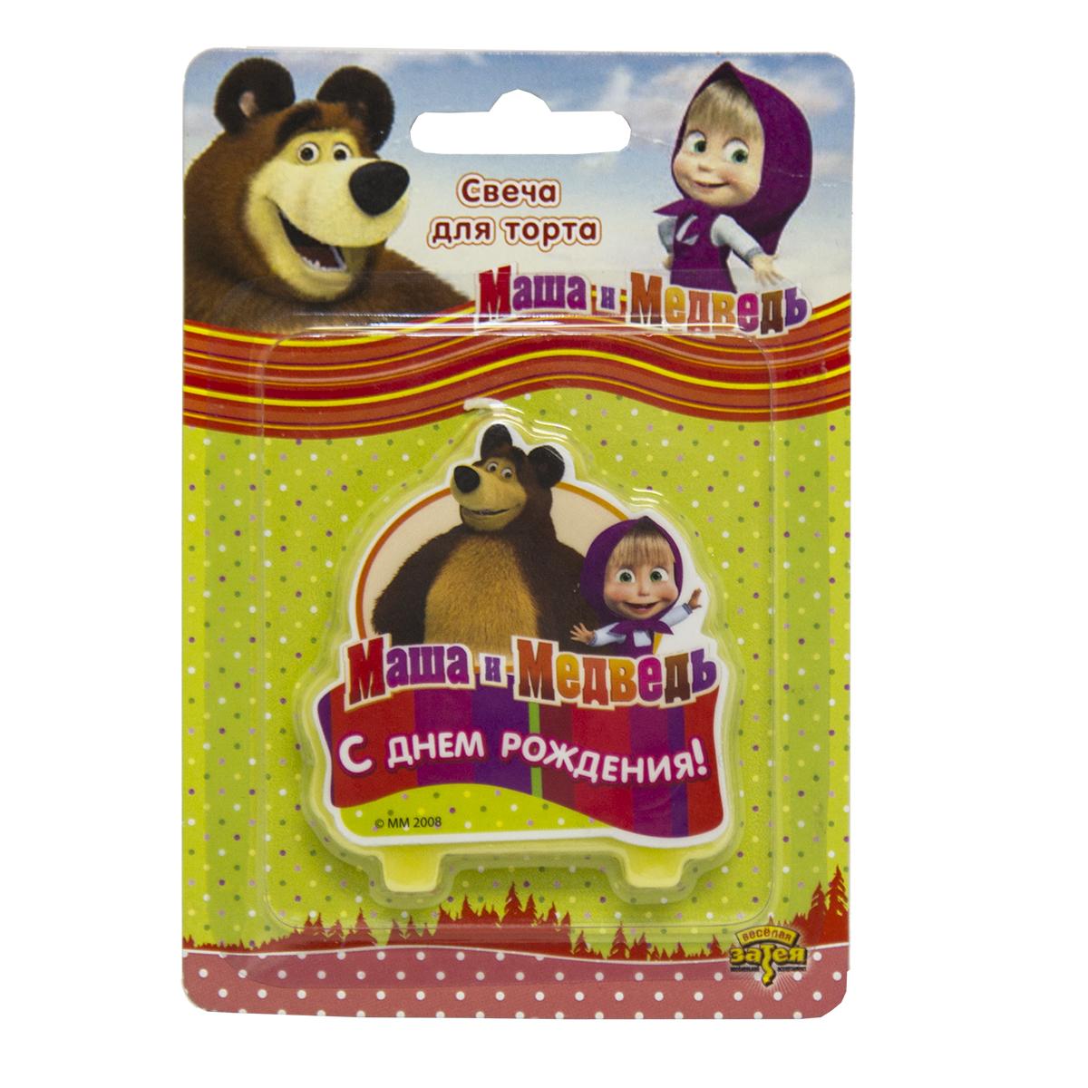 Маша и Медведь Свеча для торта С днем рождения свеча маша и медведь цифра 1