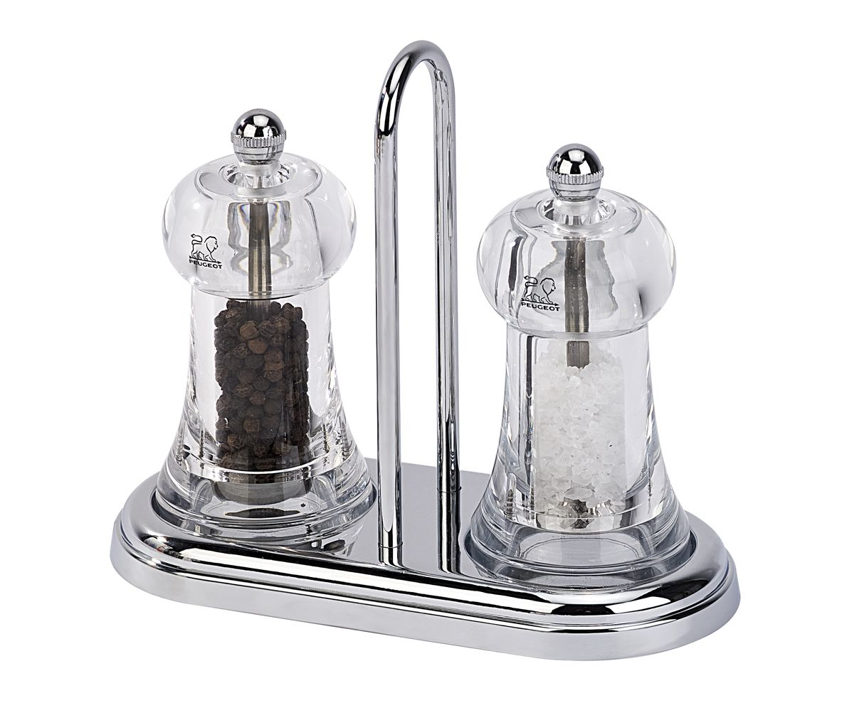 Фото - Набор мельниц для соли и перца Peugeot Brasserie Set, цвет: прозрачный, высота 15 см peugeot набор мельниц для соли и перца электрических на подставке 2 27162 peugeot