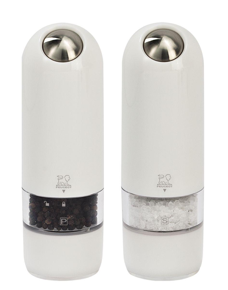 Фото - Набор электрических мельниц для соли и перца Peugeot Alaska Duo, цвет: белый, высота 17 см, 2 шт peugeot набор мельниц для соли и перца электрических на подставке 2 27162 peugeot