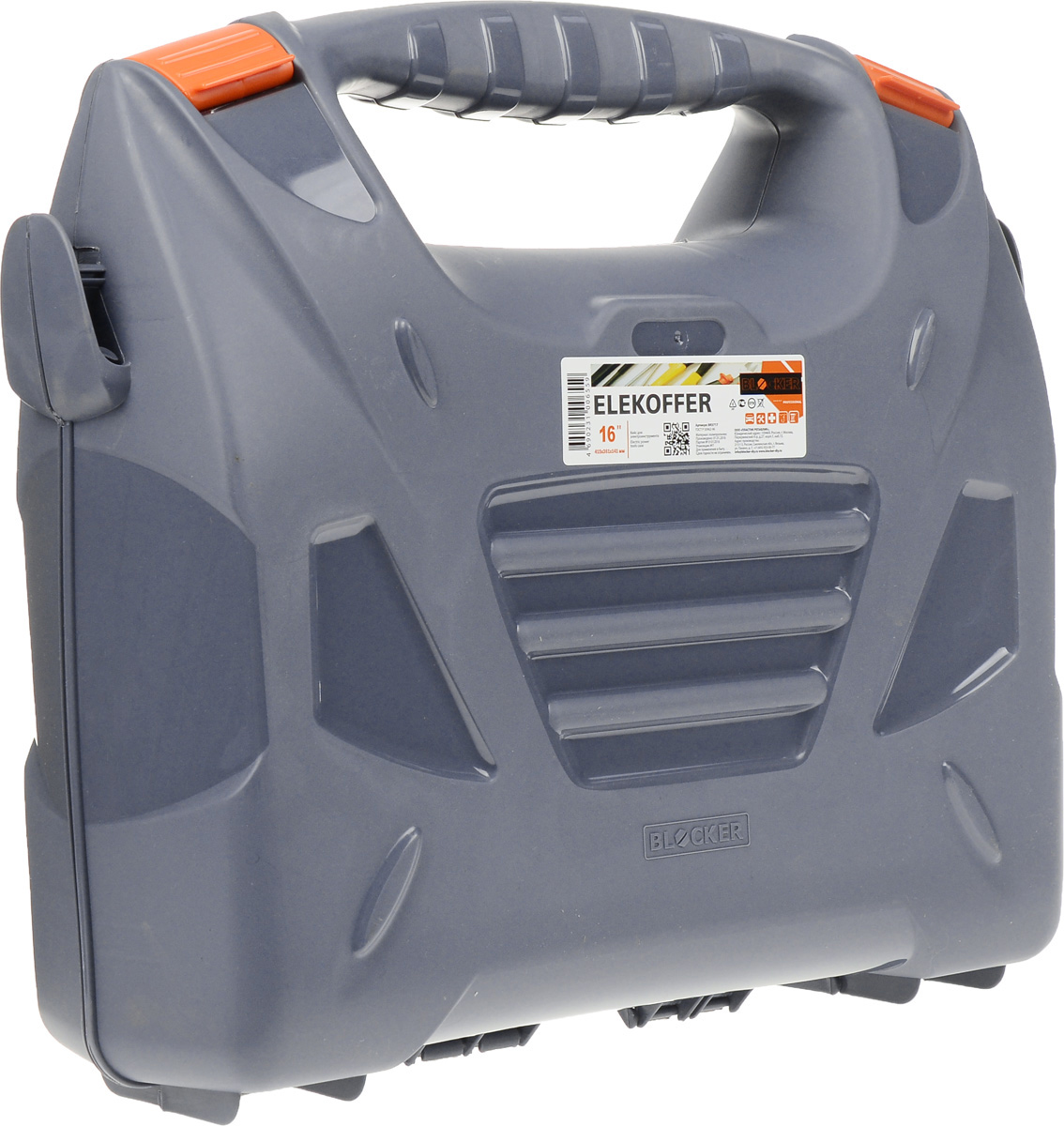 Кейс для электроинструмента Blocker Elekoffer, цвет: серый, оранжевый, 41,5 х 36,1 х 14,1 см