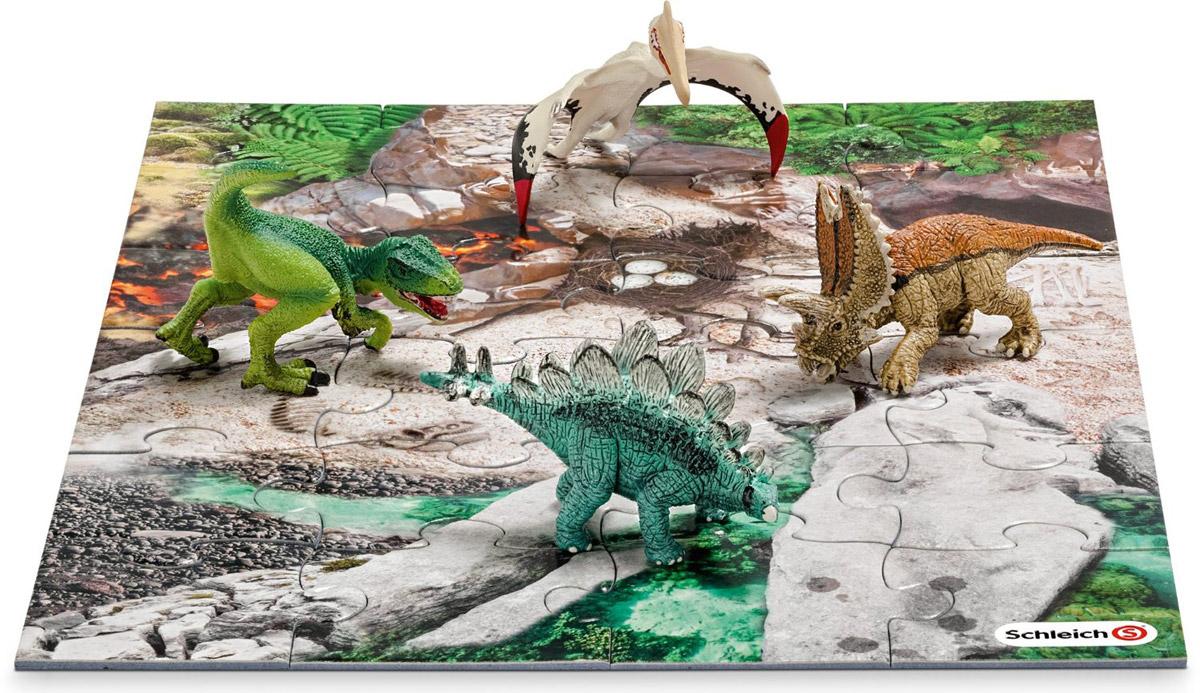 Schleich Набор фигурок Динозавры 4 шт + пазл Лавовые поля schleich фигурка тираннозавр рекс 14525