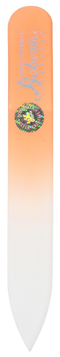 Пилочка для ногтей Bohemia, стеклянная, чехол из замши. 0902, цвет: оранжевый пилочка для ногтей leslie store 10 4sides 10pcs lot