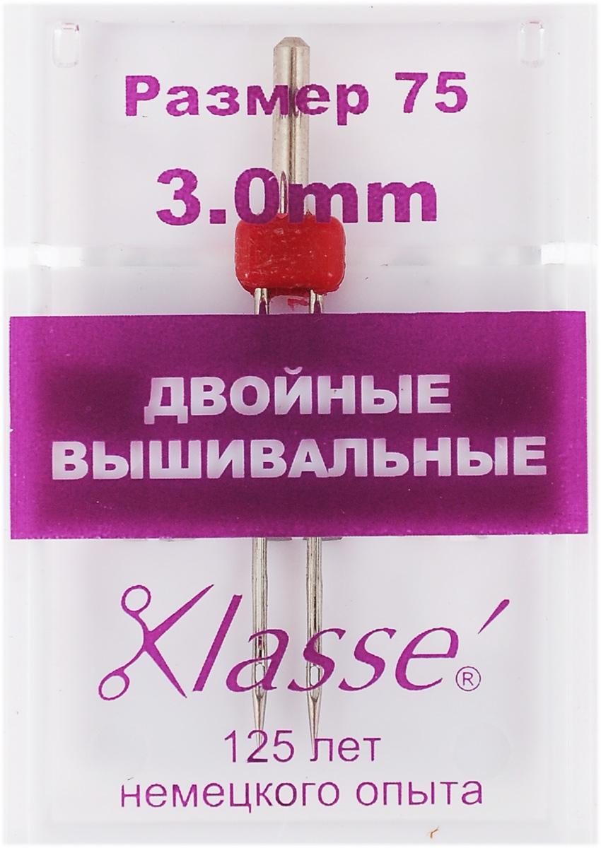 """Игла для бытовых швейных машин """"Hemline"""", вышивальная, двойная, №75, 3 мм"""