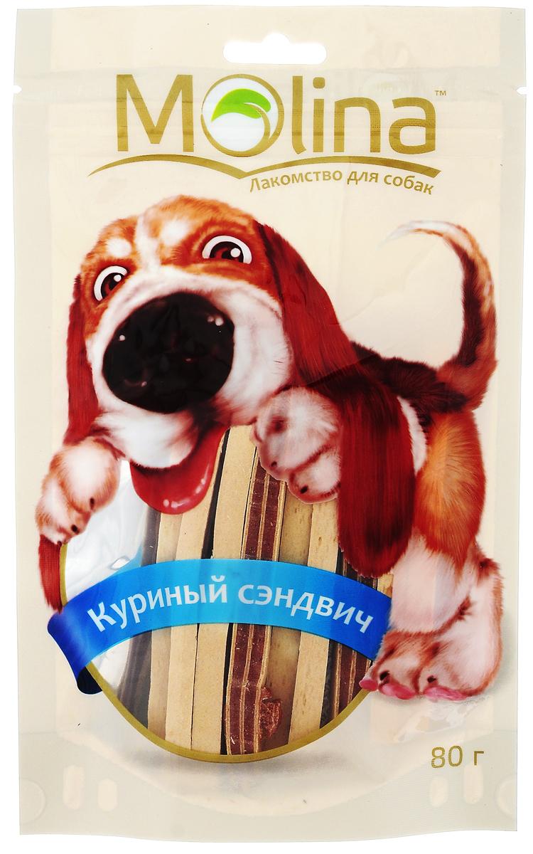 Лакомство для собак Molina Куриный сэндвич, 80 г molina molina лакомство для собак мелких пород медальоны из ягненка 50 г