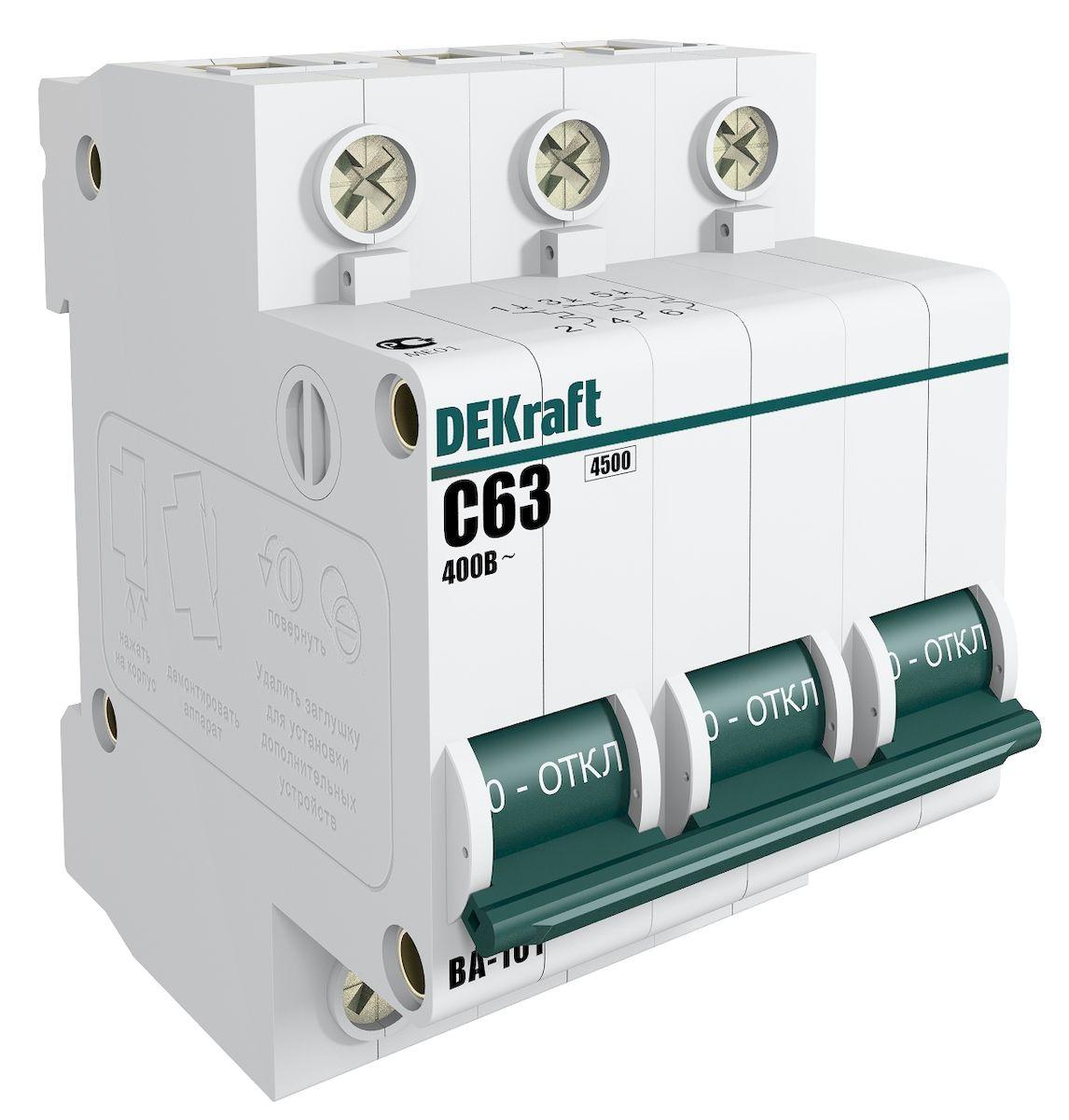 Автоматический выключатель Schneider Electric DEKraft, 3Р 40А х-ка C 4,5кА. 11082DEK автоматический выключатель 1p 40а dekraft