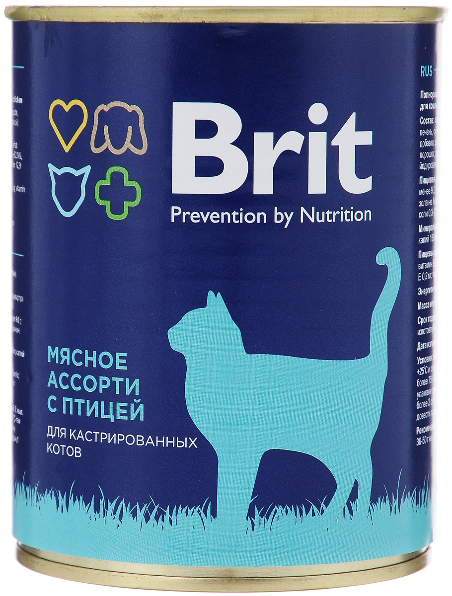 """Консервы для кастрированных котов и стерилизованных кошек """"Brit"""", мясное ассорти с птицей, 340 г"""