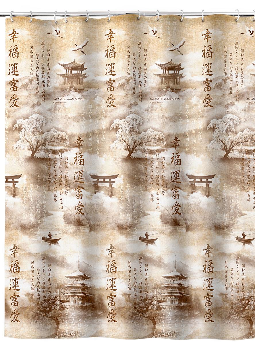 Штора для ванной комнаты Valiant Japanese Manuscript, 180 х 180 см штора для ванной valiant водопад цветов цвет белый голубой 180 х 180 см