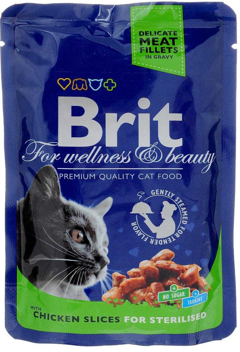 Консервы для стерилизованных кошек Brit Premium, с курицей, 100 г8595602506033Консервы для стерилизованных кошек Brit Premium - влажный корм класса премиум для кастрированных котов и стерилизованных кошек. Не содержит красителей, консервантов, сахара. Аналитический состав: белки 8,5%, жиры 3%, зола 2,5%, клетчатка 0,4%, влага 82%. Питательные добавки (на 1 кг): витамины D3 250 МЕ, витамин Е 100 мг, цинк 10 мг, марганец 2 мг, йод 0,7 мг, медь 0,2 мг, таурин 450 мг, биотин 0,1 мг. Энергетическая ценность: 68 ккал/100 г. Товар сертифицирован. Рекомендуем!