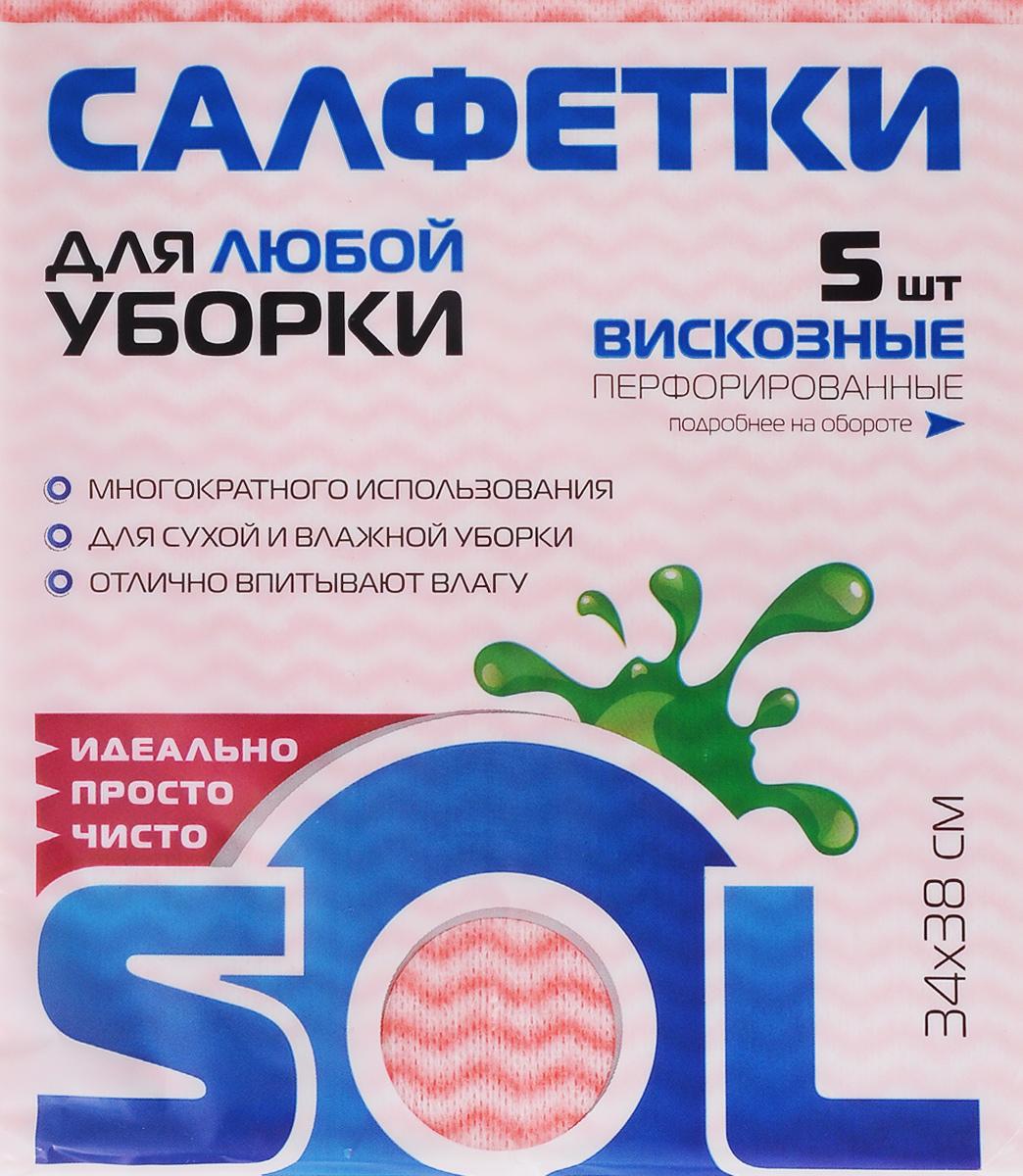 Салфетка для уборки Sol, из вискозы, перфорированная, цвет: розовый, зеленый, 34 x 38 см, 5 шт цена
