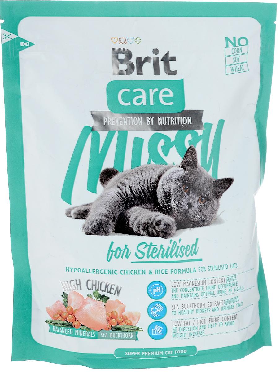 Корм сухой Brit Care Missy для кастрированных котов и стерилизованных кошек, с курицей и рисом, 400 г паучи для кошек и котов pcg ме о сардина с курицей и рисом в желе 80 г