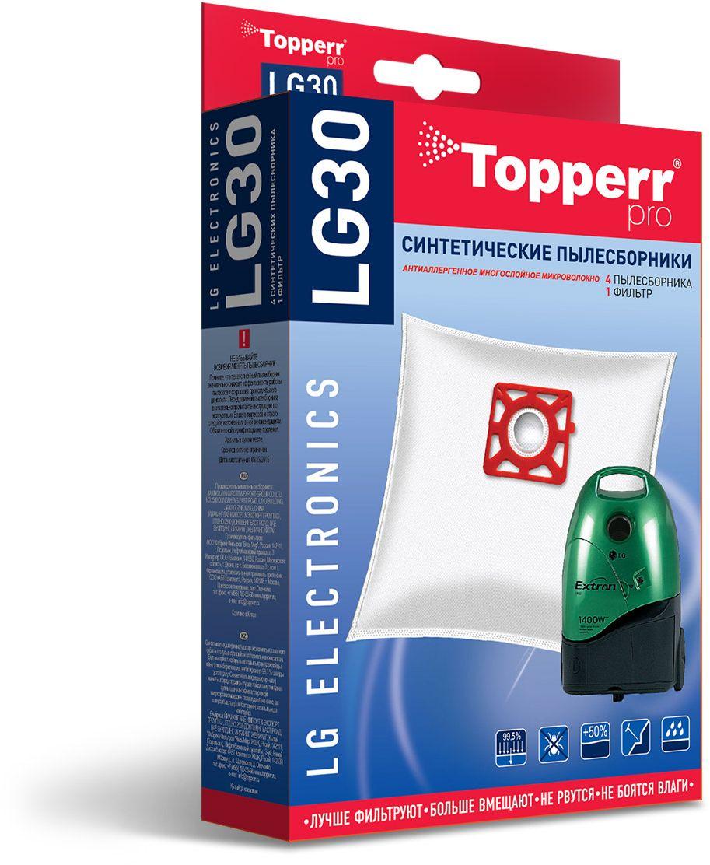 Topperr LG30 фильтр для пылесосовLG Electronics, 4 шт набор пылесборники фильтры topperr 1409 lg 20