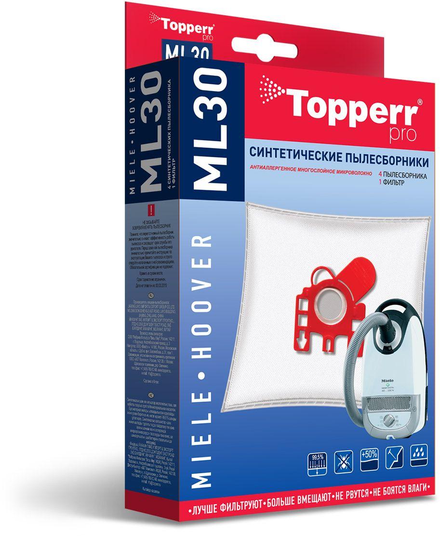 Topperr ML30 пылесборник для пылесосов Miele, Hoover, 4 шт пылесборники синтетические topperr ml 30 4шт 1 фильтр для miele hoover