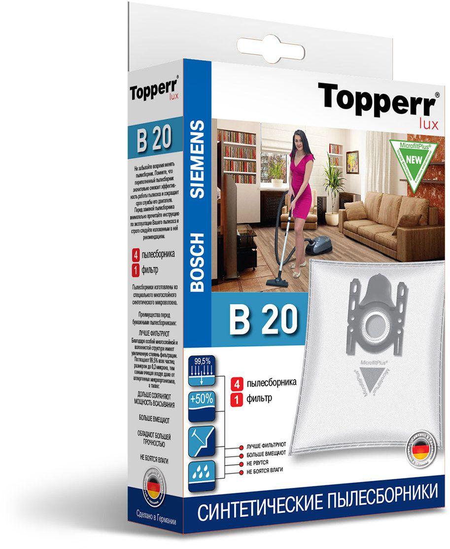 Topperr B 20 фильтр для пылесосовBosch, Siemens, 4 шт topperr bs 3 фильтр для пылесосов bosch siemens 4 шт