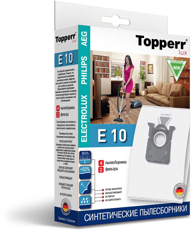 Topperr E 10 фильтр для пылесосов Electrolux, Philips, AEG, 4 шт topperr ex10 фильтр для пылесосов electrolux philips aeg 4 шт