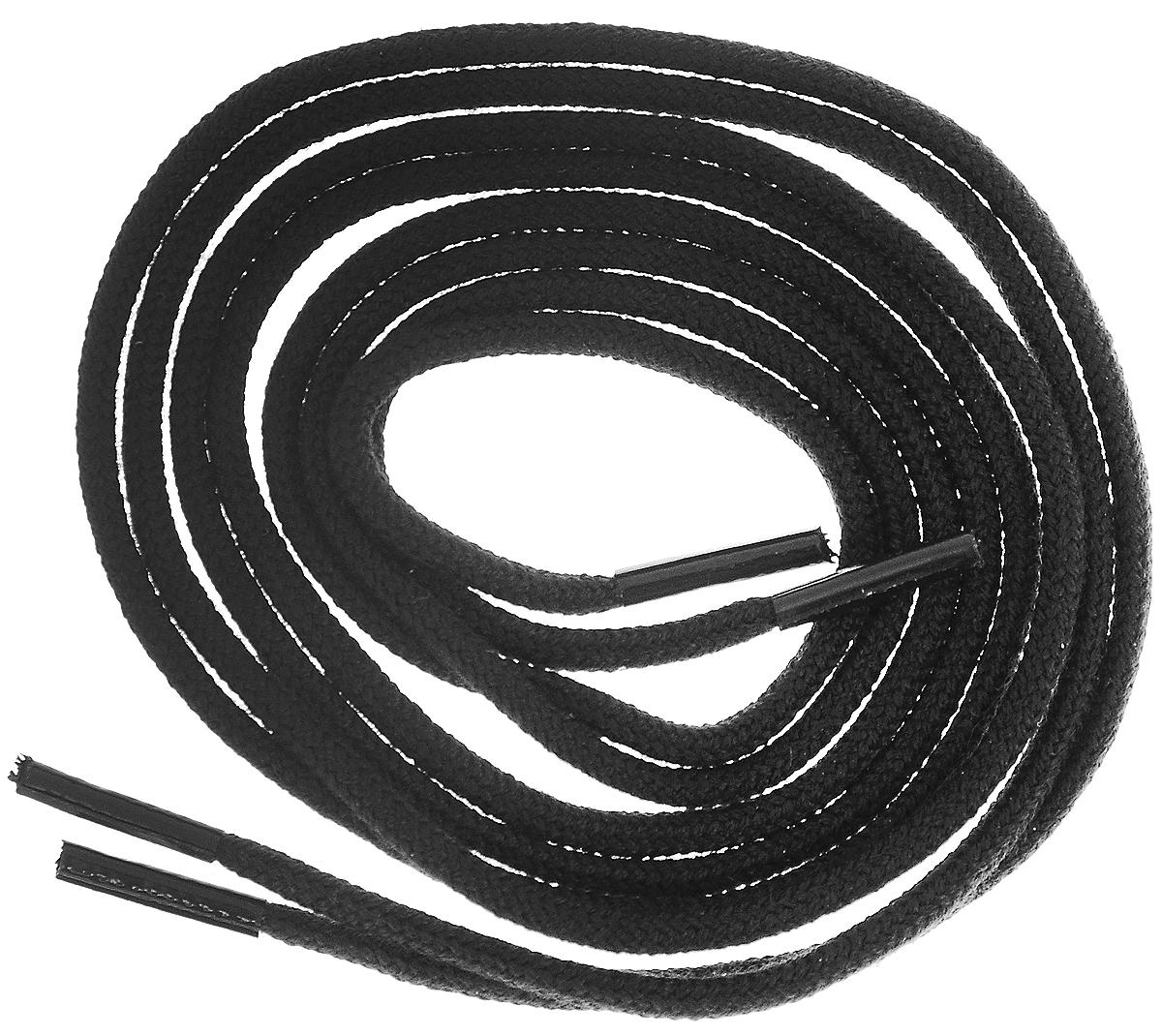 Шнурки тонкие Collonil Rund, цвет: черный, длина 60 см шнурки для обуви радуга active усиленные круглые с наполнителем цвет белый 110 см