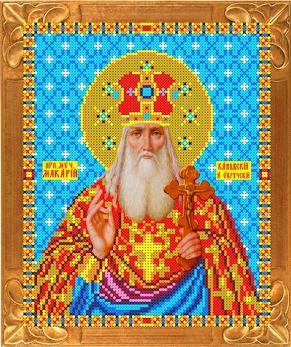 Канва с рисунком Каролинка Святой Макарий, для вышивания бисером или крестом, 19,5 х 24,5 см канва с рисунком каролинка помощница в родах для вышивания бисером или крестом 18 5 х 24 5 см