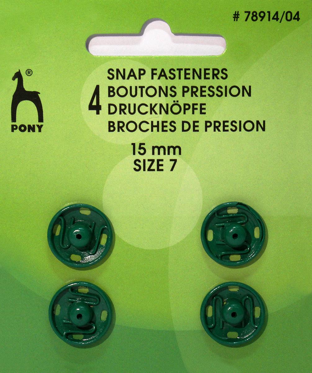 Кнопки для одежды Pony, цвет: зеленый, диаметр 15 мм, 4 шт