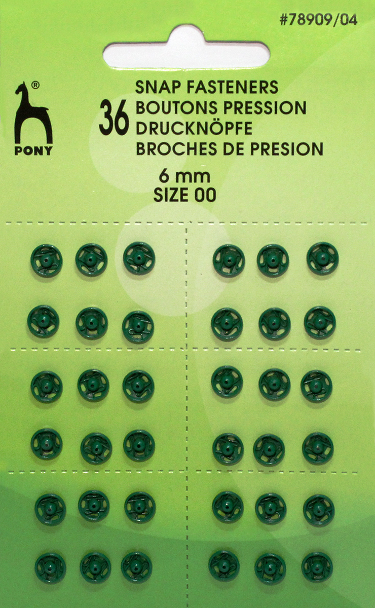 Кнопки для одежды Pony, цвет: зеленый, диаметр 6 мм, 36 шт