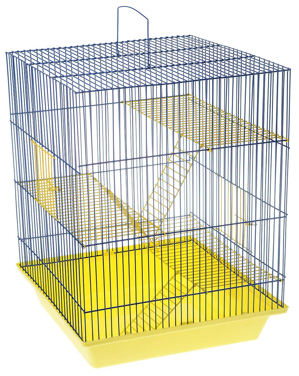 Клетка для грызунов ЗооМарк Гризли, 4-этажная, цвет: желтый поддон, синяя решетка, желтые этажи, 41 х 30 х 50 см. 240ж клетка для шиншилл и хорьков зоомарк цвет синий поддон синяя решетка 59 х 41 х 79 см 725дк