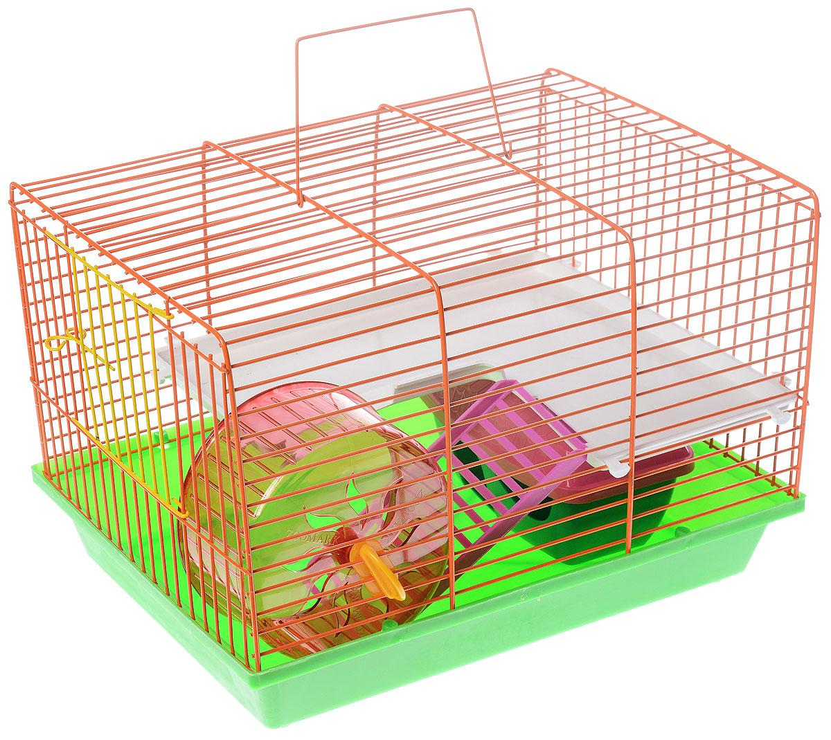 Клетка для грызунов ЗооМарк, 2-этажная, цвет: салатовый поддон, оранжевая решетка, 36 х 23 х 24 см цена