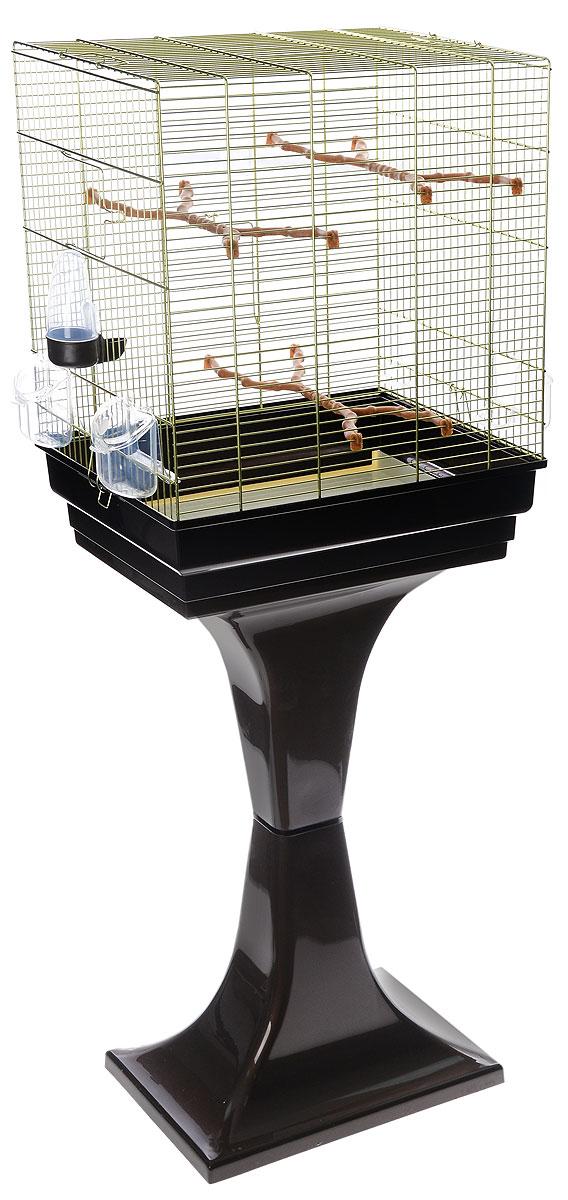 Клетка для птиц Imac Camilla, на колесах и подставке, цвет: золотистый, коричневый, 50 х 30 х 57/129 см клетка для попугая olx