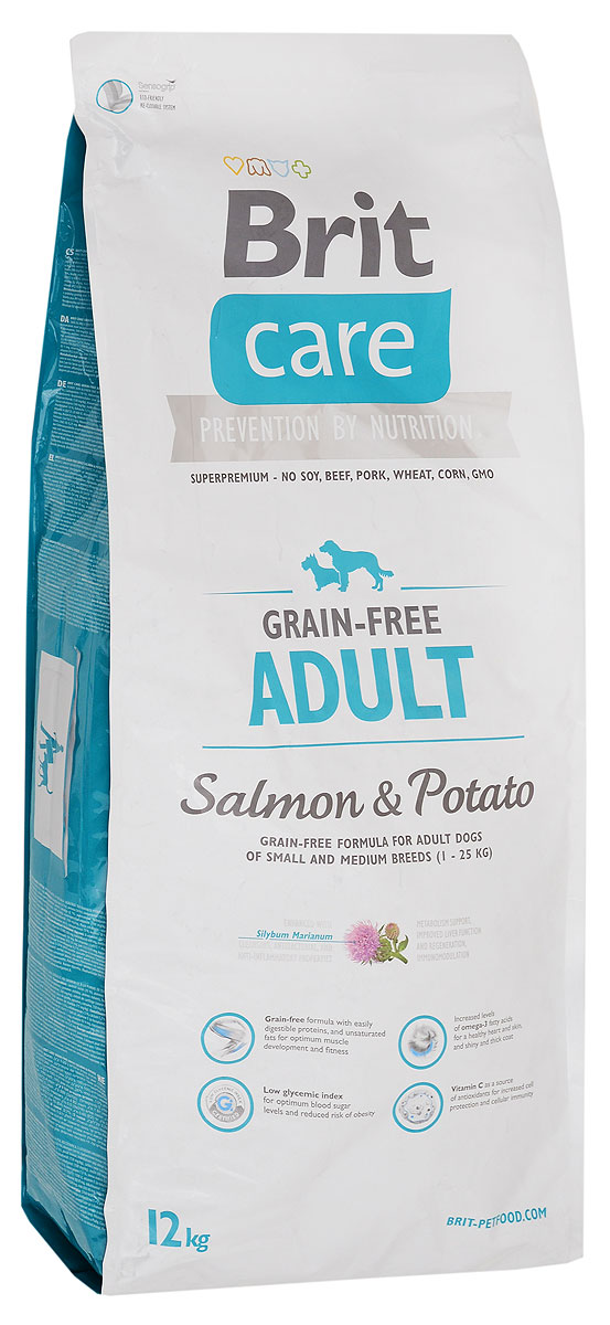 Корм сухой Brit Care Adult для взрослых собак, беззерновой, с лососем и картофелем, 12 кг