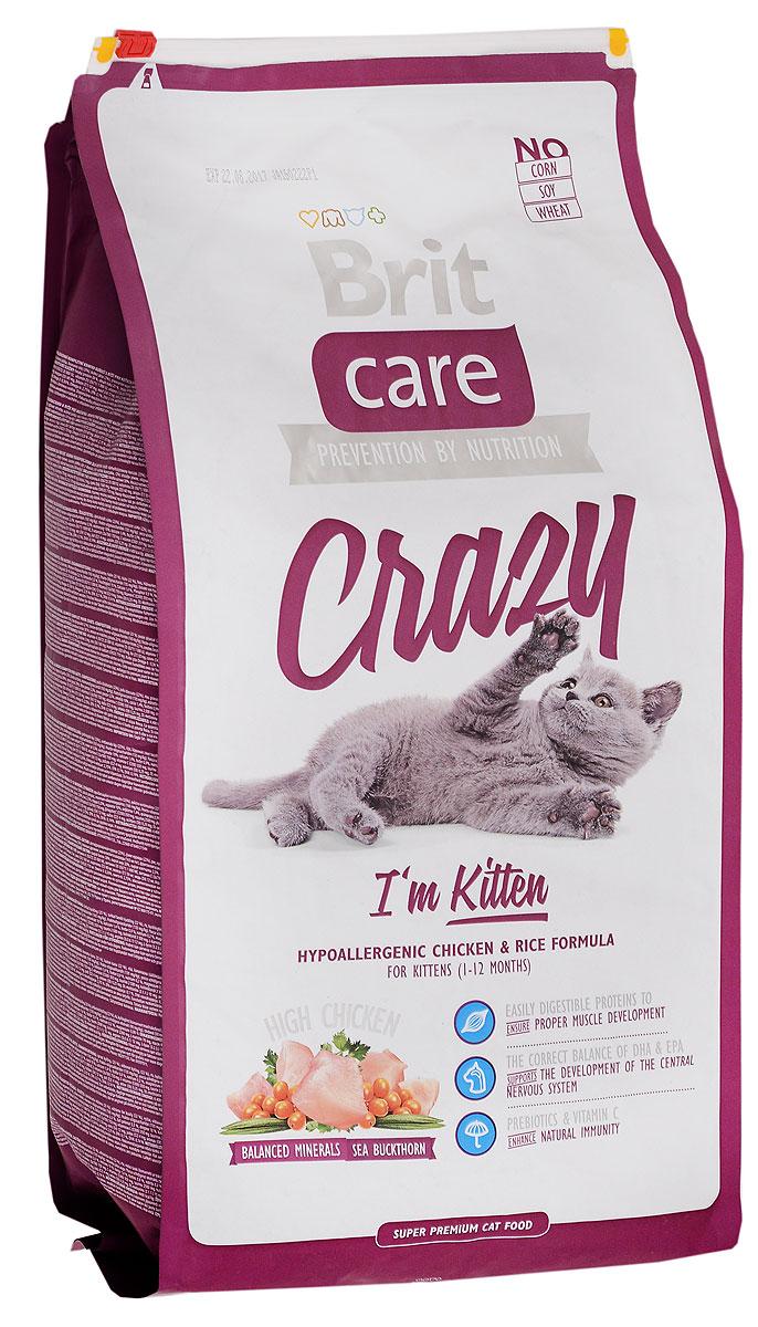 Корм сухой Brit Care Crazy для котят, беременных и кормящих кошек, с курицей и рисом, 7 кг сухой корм brit care cat crazy kitten гипоаллергенный с курицей и рисом для котят 1 12 мес беременных и кормящих кошек 2кг 132601