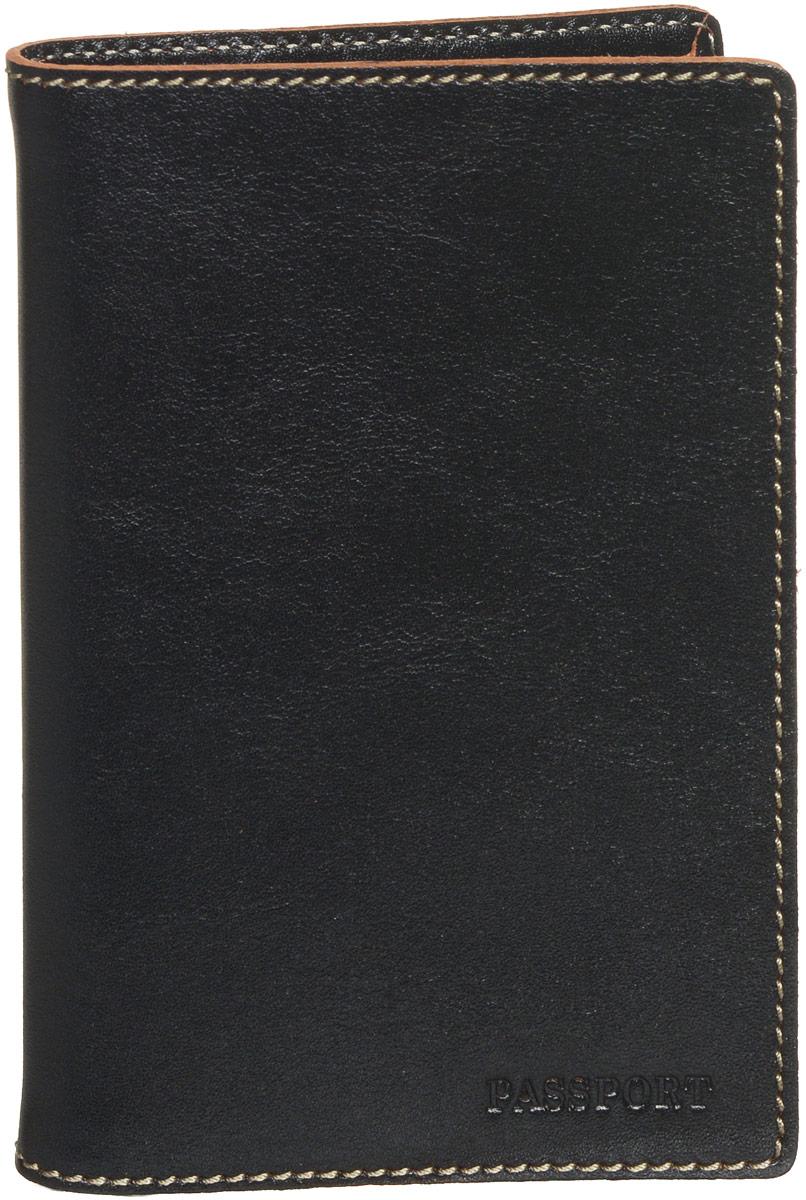 Обложка для паспорта мужская Fabula Kansas, цвет: черный. O.8.TXF.черный аксессуар fabula kansas black pm 7 tx ш к 03534 240584