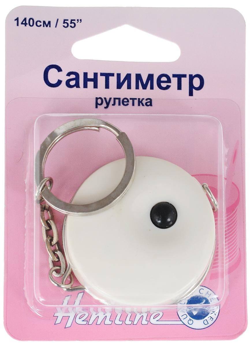 Сантиметр-рулетка Hemline, с кольцом для ключей, цвет: белый, черный, 140 см (55) для шитья сантиметр