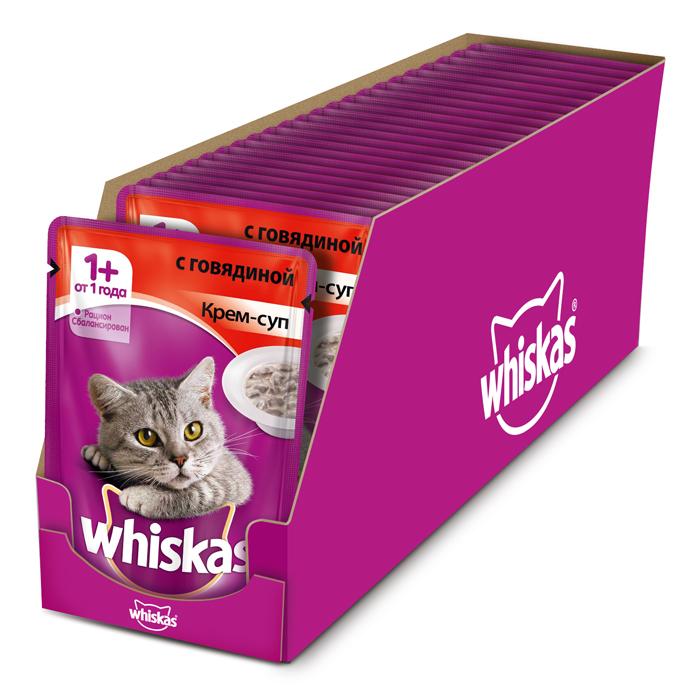 Консервы Whiskas для кошек от 1 года, крем-суп с говядиной, 85 г, 24 шт41402Консервированный корм Whiskas - полнорационное питание со всеми необходимыми для здоровья питательными веществами, витаминами и минералами для взрослых кошек от 1 года. Аппетитные кусочки с нежным сливочным соусом непременно понравятся вашему любимцу. В каждой миске крем-супа Whiskas ваш питомец найдет вкусное и полезное угощение. Состав: мясо и субпродукты (в том числе говядина минимум 4%), сухие сливки на растительной основе, злаки, таурин, витамины, минеральные вещества. Пищевая ценность (в 100 г продукта): белки - 7,5 г; жиры - 3,0 г; зола - 2,5 г; клетчатка - 0,2 г; витамин А - не менее 150МЕ; витамин Е - не менее 1,0 мг; влага - 83 г. Энергетическая ценность (на 100 г): 70 ккал/293 кДж. В упаковке 24 пауча по 85 г. Товар сертифицирован.
