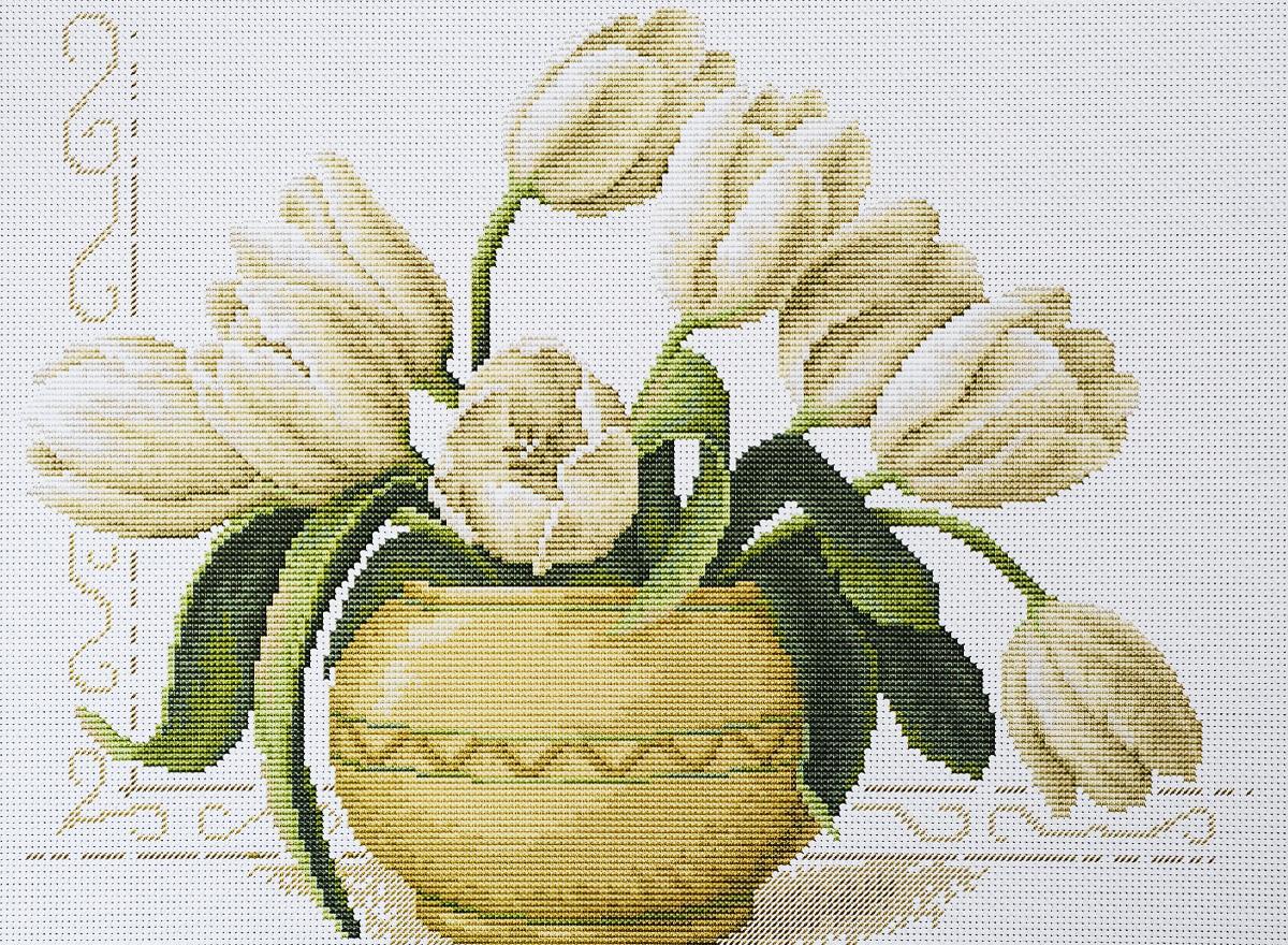 """Набор для вышиваниякрестом Luca-S """"Ваза с тюльпанами"""", 31,5 х 24,5 см"""