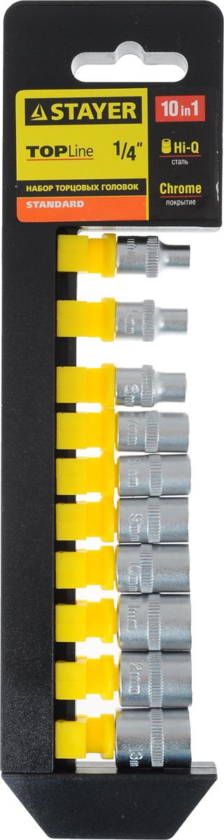 Набор торцевых головок Stayer Standard, 4-13 мм, 10 шт набор головок с трещоткой hammer flex 601 055 1 4 5 5 5 6 7 8 9 10 11 12 13 мм 11 шт