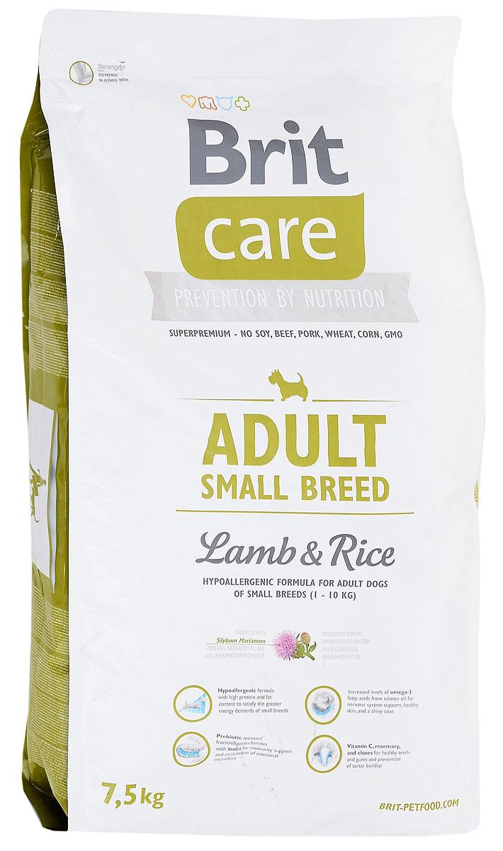 Корм сухой Brit Care Adult Small Breed для собак мелких пород, с ягненком и рисом, 7,5 кг цена