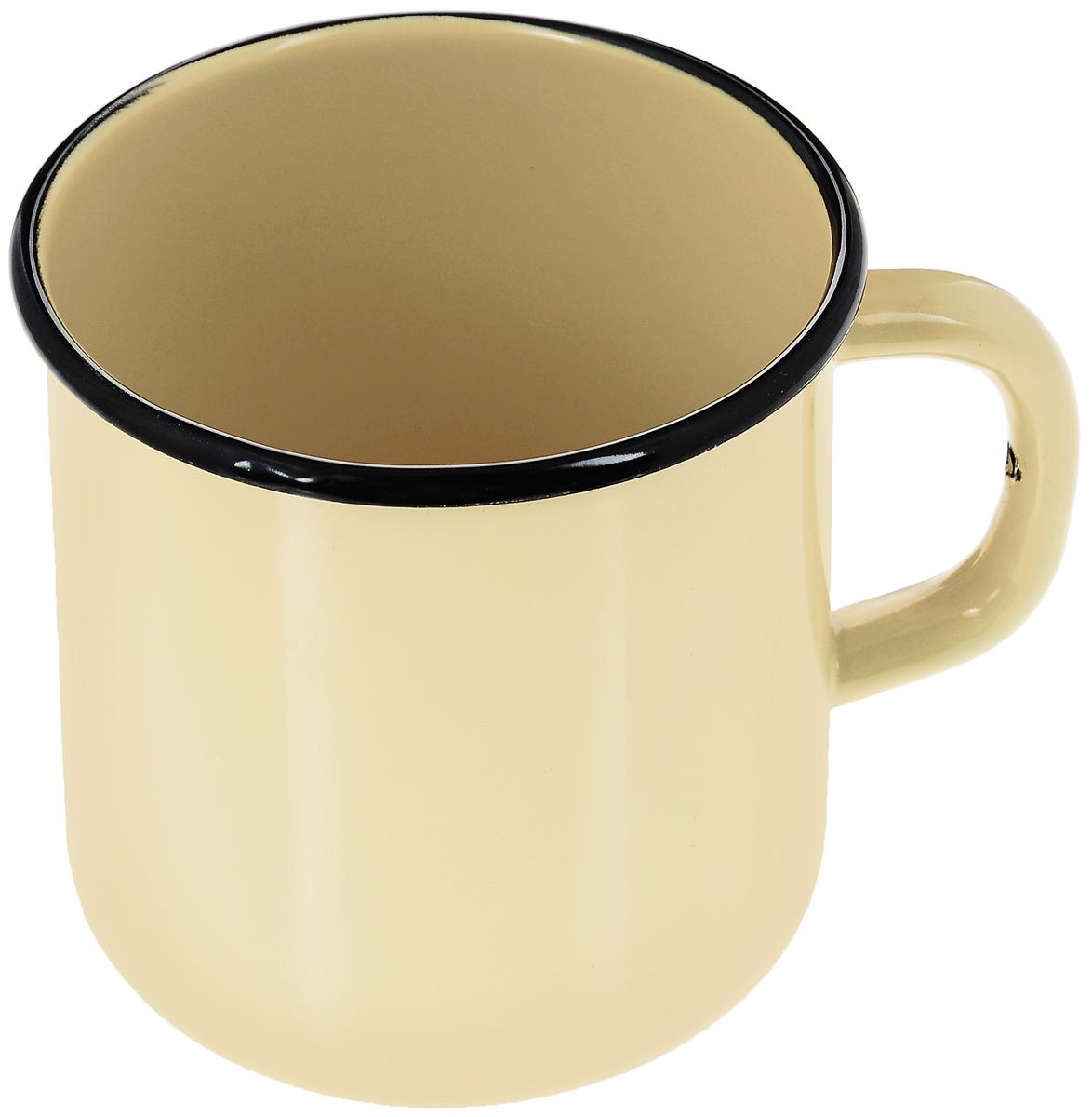 Кружка эмалированная СтальЭмаль, цвет: желтый, 1 л кружка стальэмаль 1 л с рисунком