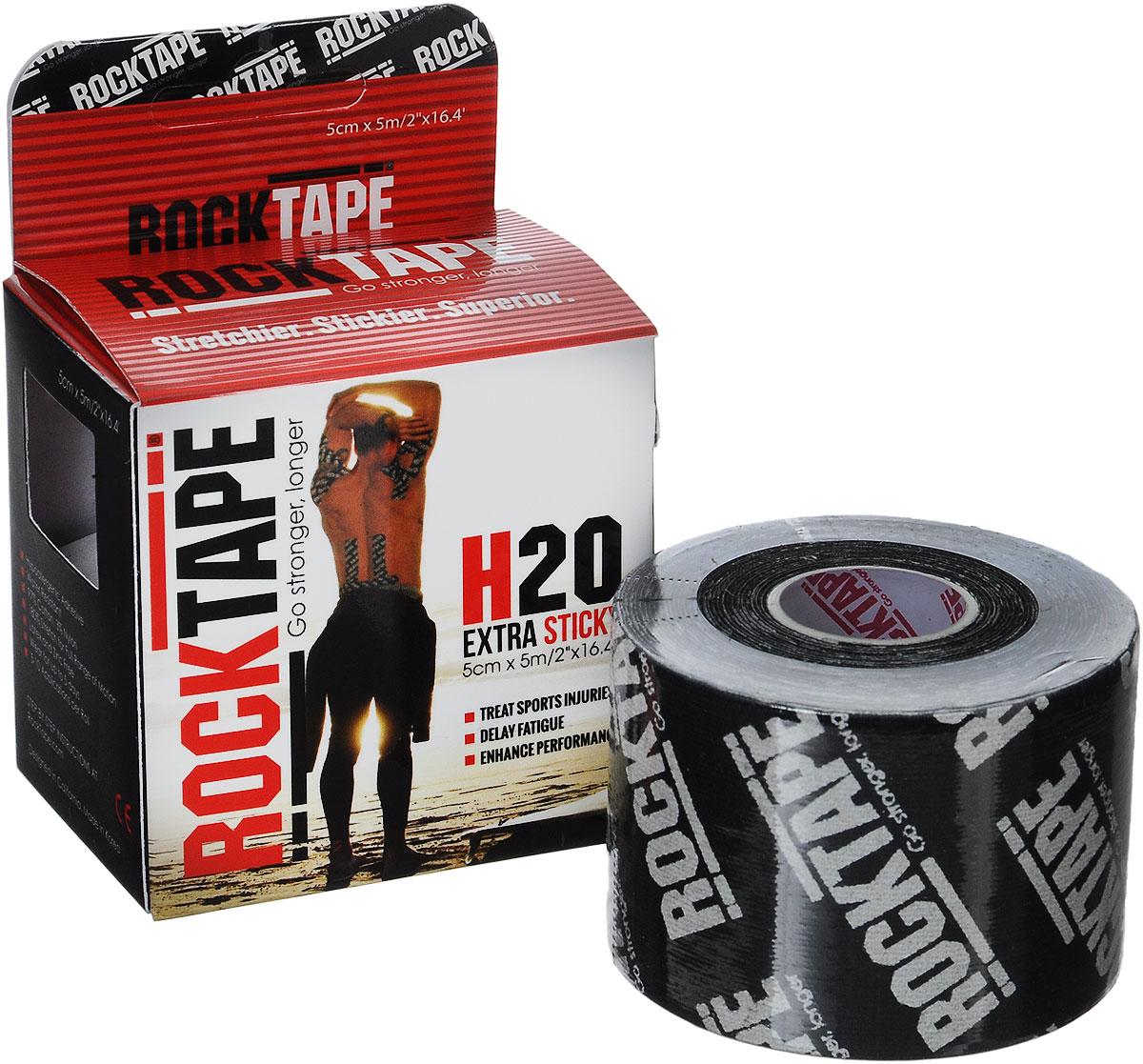 Кинезиотейп Rocktape H2O, цвет: черный, белый, 5 х 500 см
