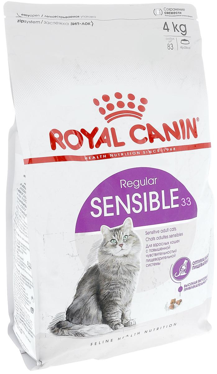 Корм сухой Royal Canin Sensible 33, для кошек с чувствительной пищеварительной системой, 4 кг корм royal canin sensible 33 400g для кошек