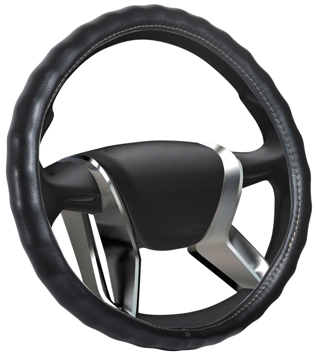 Оплетка на руль Senator Vermont, экокожа, цвет: черный, диаметр 38 см