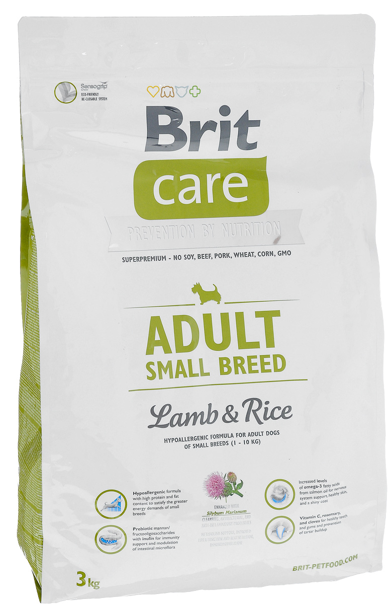 Корм сухой Brit Care Adult Small Breed для собак мелких пород, с ягненком и рисом, 3 кг цена